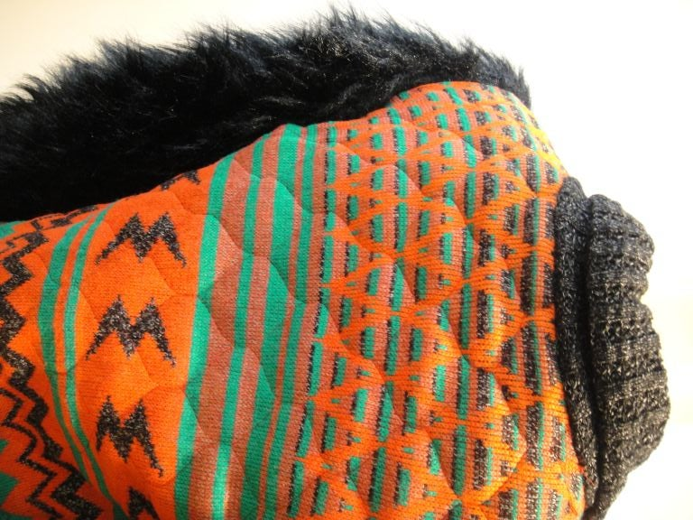 Sant' Angelo Faux Fur Sleeve Ethnic Knit Jacket 1