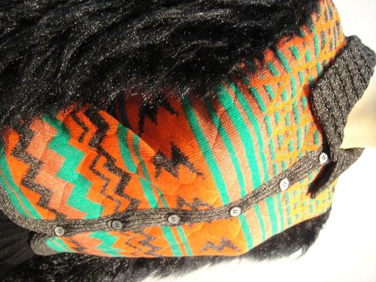 Sant' Angelo Faux Fur Sleeve Ethnic Knit Jacket 2