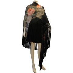 1920s French Silk Chiffon and Lame Floral Shawl