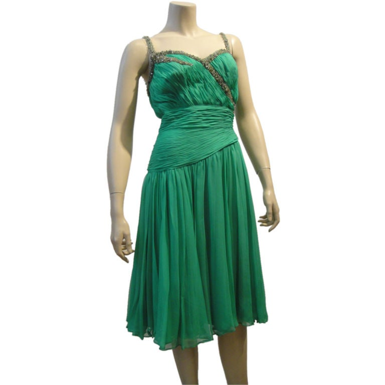 Saks Fifth Avenue 60s Beaded Jade Chiffon Cocktail Dress For Sale at ...