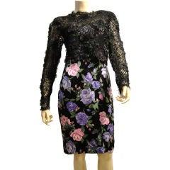 Galanos 80's Floral Print Silk Dress w/ Lace Overlay  Ensemble