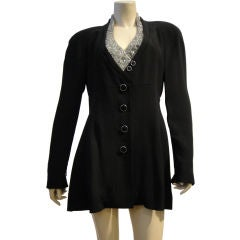 80's Lagerfeld Jacket with Silver Beaded Collar Detail