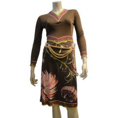 Pucci Silk Jersey Cocktail Dress w/ Banding Trim