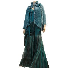 Patricia Lester Fortuny Style Pleated Silk Capelet w/ Neck Ruff