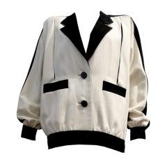 Galanos 80s Black/White Eisenhower Style Day Jacket
