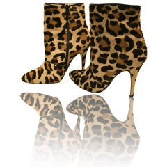 80s Leopard Stenciled  Calf  Stiletto Booty