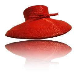 """Frank Olive Flame Red Straw """"Breakfast at Tiffany's"""" Style Hat"""