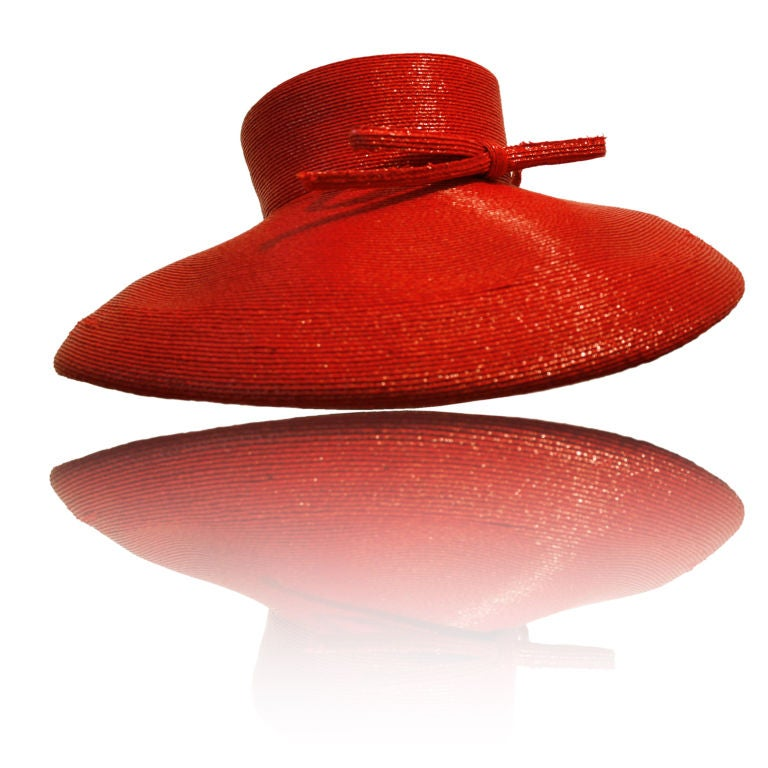 "Frank Olive Flame Red Straw ""Breakfast at Tiffany's"" Style Hat"