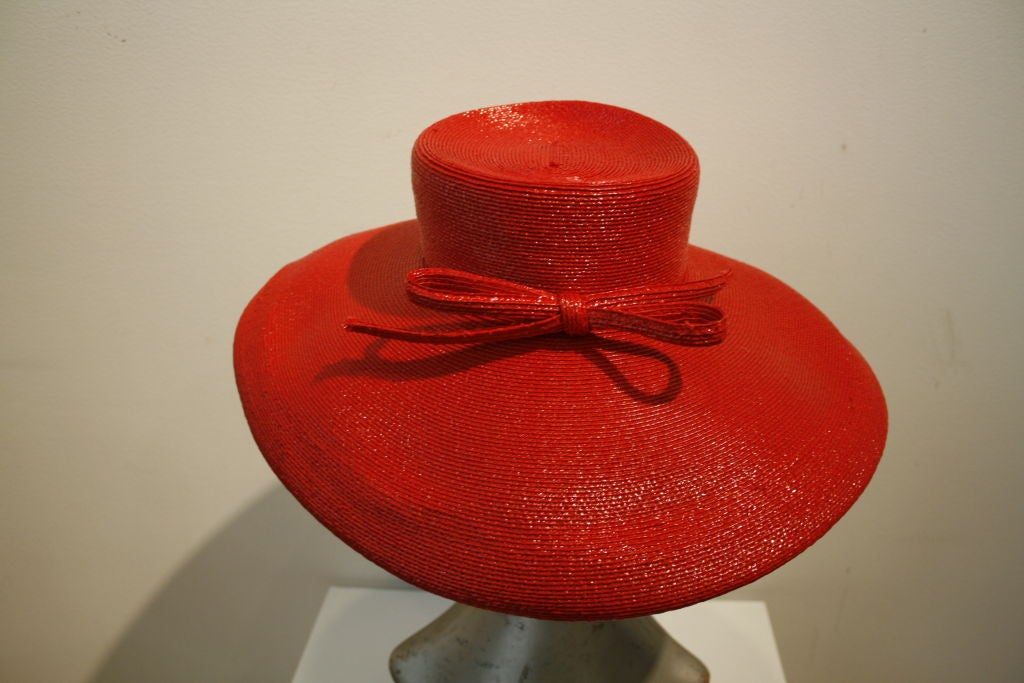 """Frank Olive Flame Red Straw """"Breakfast at Tiffany's"""" Style Hat image 2"""