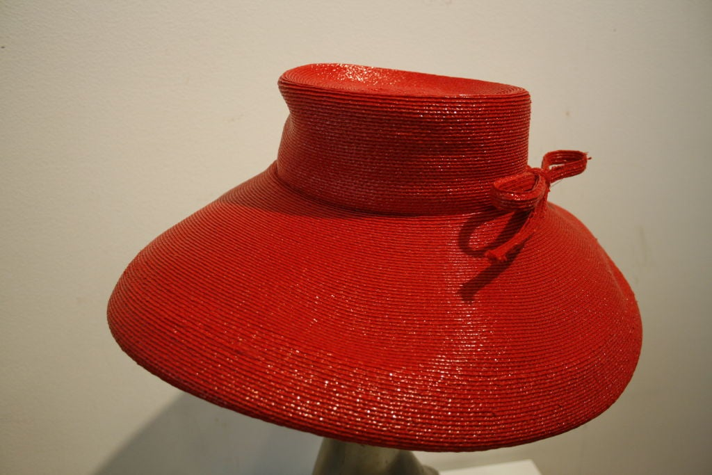 """Frank Olive Flame Red Straw """"Breakfast at Tiffany's"""" Style Hat image 3"""
