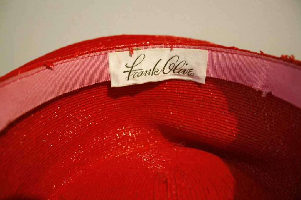 "Frank Olive Flame Red Straw ""Breakfast at Tiffany's"" Style Hat image 4"