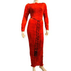 Charles and Patricia Lester Micro Pleated Flaming Red Silk Gown