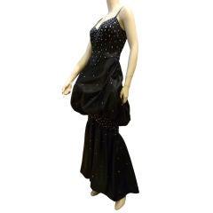 Rhinestone Studded Black Satin Fishtail Bubble Gown