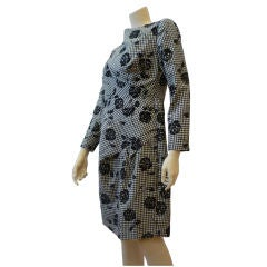 Scaasi Wool Check Sheath with Fan Darting and Flocked Florals