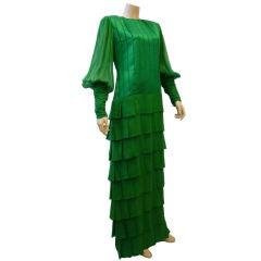 Galanos 80s Kelly Green Ribbon/Chiffon Gown