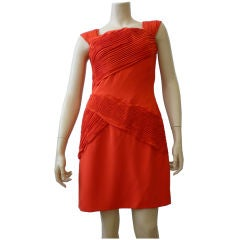 Scaasi Classic Red Cocktail Dress w/ Great Pleated Details