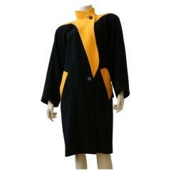 Ungaro Parallele 1980s Sculpted Color Block Wool Overcoat