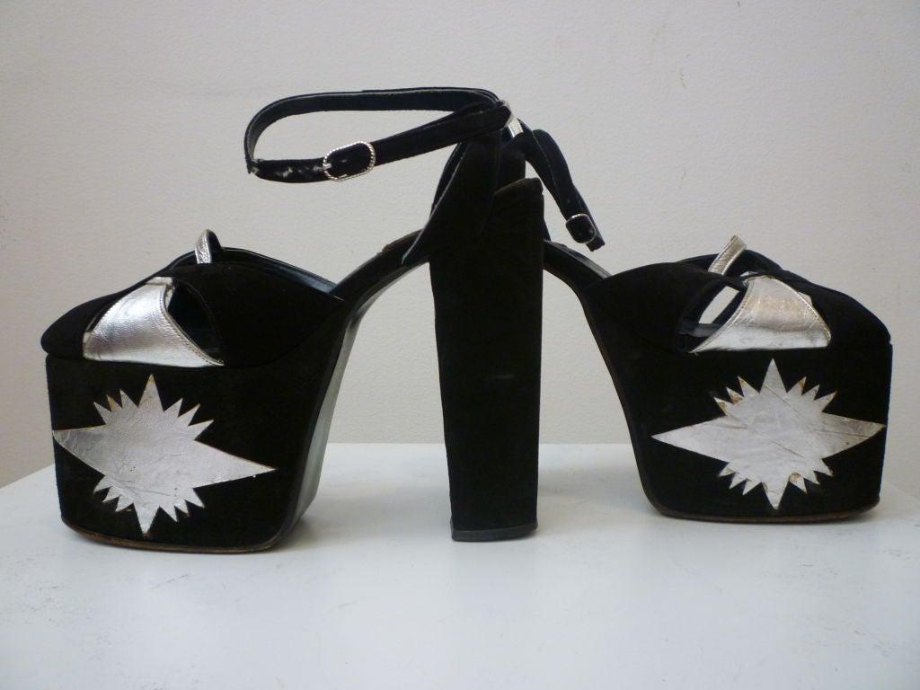Super-Hot 1970s Silver and Black Suede Platform Shoes 2