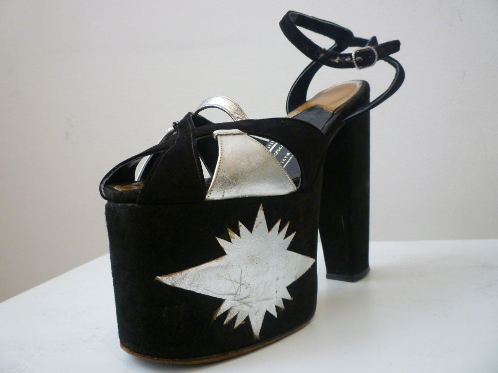 Super-Hot 1970s Silver and Black Suede Platform Shoes 3