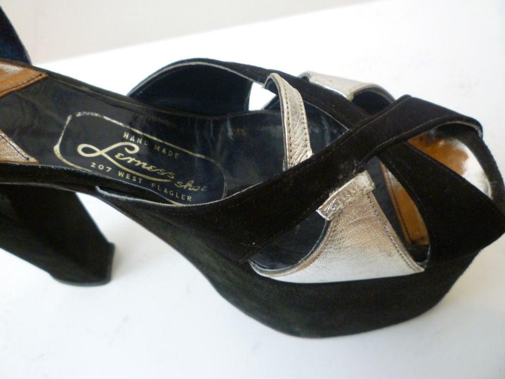 Super-Hot 1970s Silver and Black Suede Platform Shoes 5