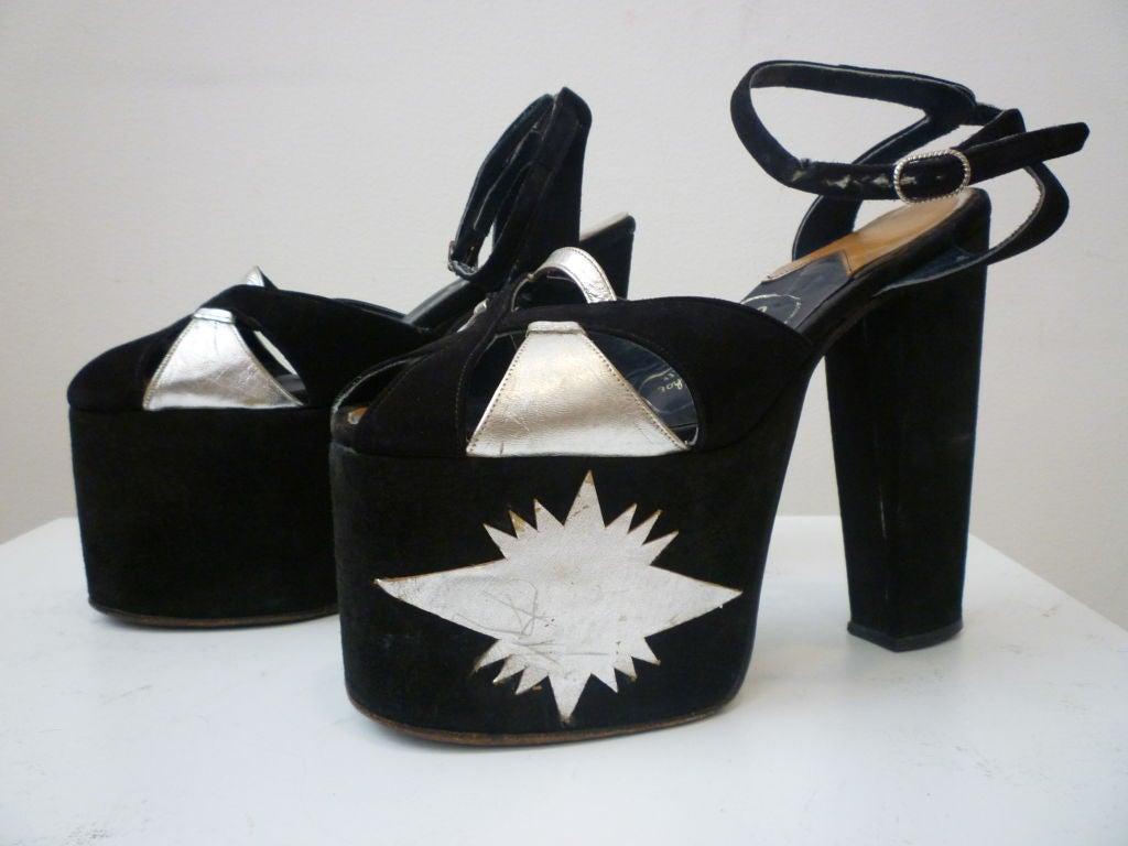 Super-Hot 1970s Silver and Black Suede Platform Shoes 6