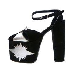 Super-Hot 1970s Silver and Black Suede Platform Shoes