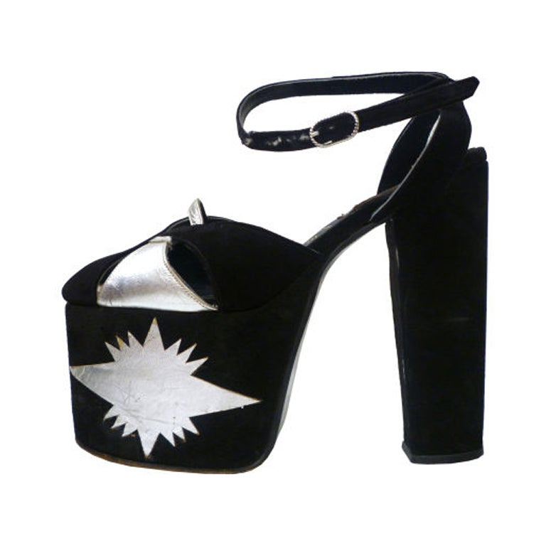 Super-Hot 1970s Silver and Black Suede Platform Shoes 1