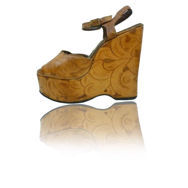 360e0073031611 60 s Western Tooled Leather Ankle-Strap Platforms at 1stdibs