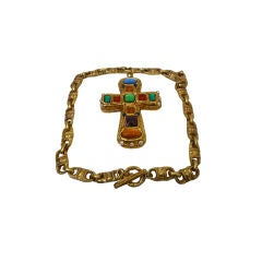 1980s Byzantine-Style Gold-tone Cross w/ Poured Glass Jewels