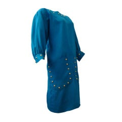Givenchy 80s Studded Linen Chemise Dress in Vibrant Azure Blue