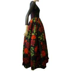 Galanos 1950s Luxurious Silk Floral Ball Gown
