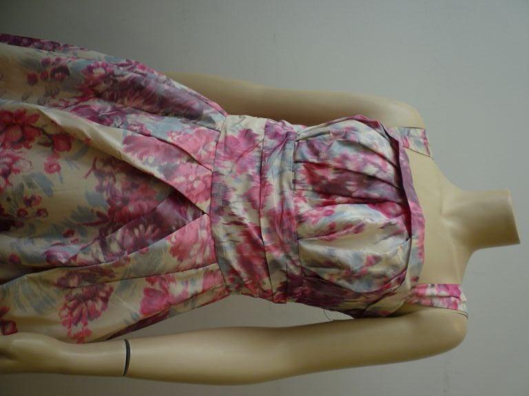 Brown Wonderful Helen Sjolander 1950s Silk Floral Party Dress For Sale