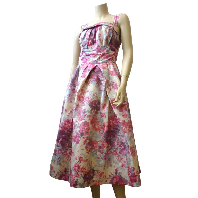 Wonderful Helen Sjolander 1950s Silk Floral Party Dress For Sale
