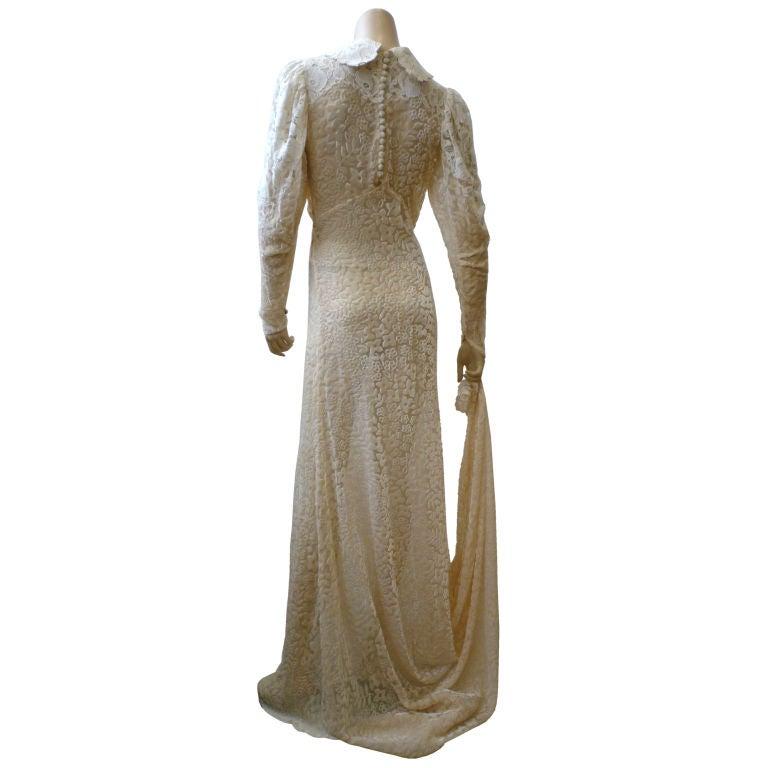 1930s bias cut silk d vor velvet and lace wedding gown at for Velvet and lace wedding dresses