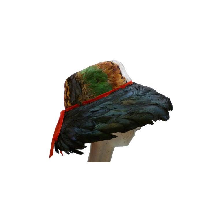 Jillé 1950's Pheasant and Coq Feather Hat For Sale