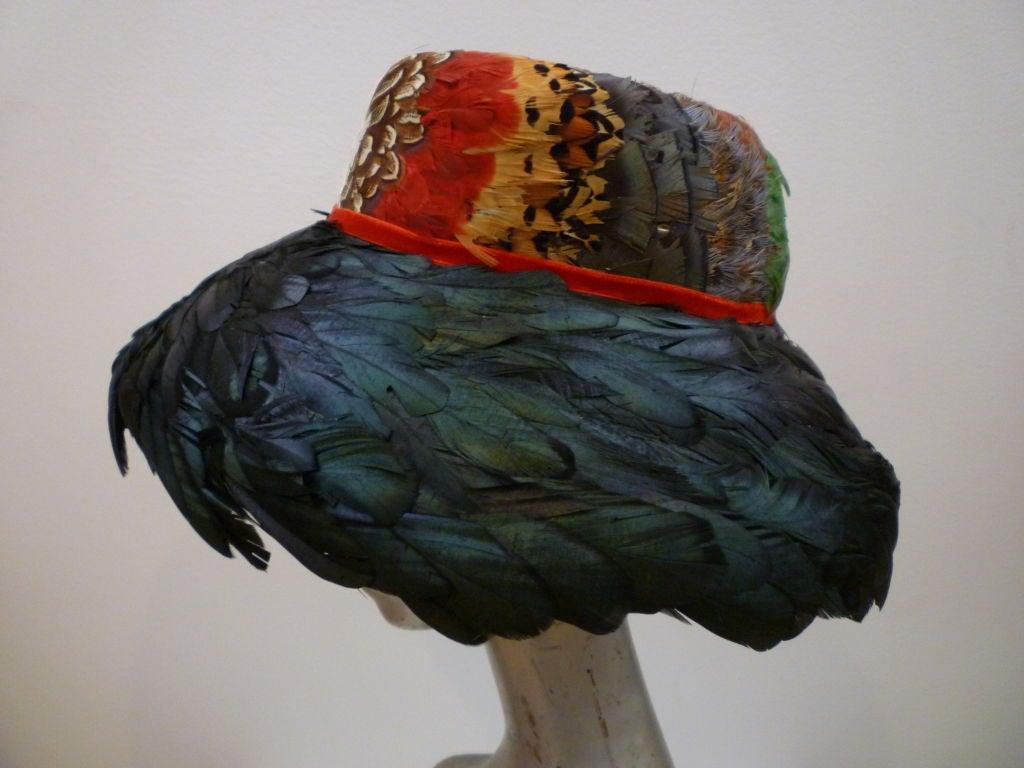 Black Jillé 1950's Pheasant and Coq Feather Hat For Sale