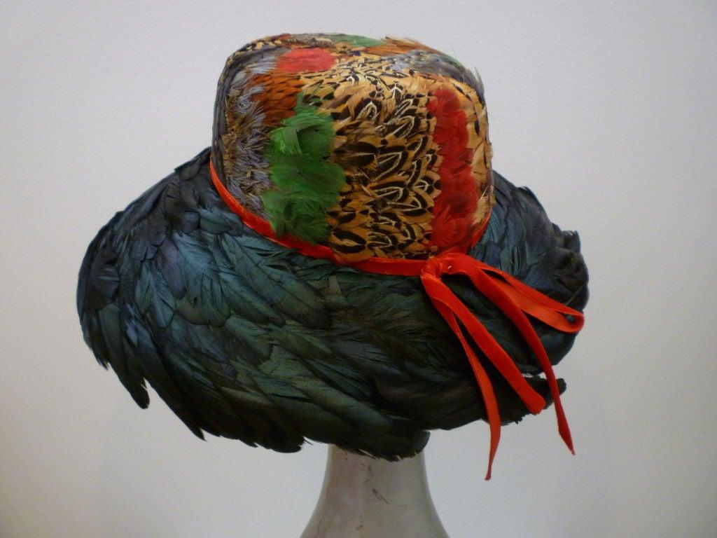 Jillé 1950's Pheasant and Coq Feather Hat 4