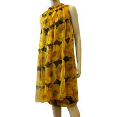 Exquisite 1961 Galanos Silk Chiffon Cocktail Dress with Overlay