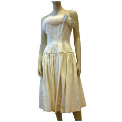 Arnold Constable 1950s Ivory Brocade Cocktail Dress w/ Fox Trim