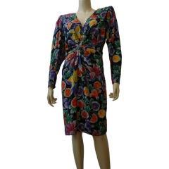 Ungaro 1980s Silk Floral Print Cocktail Dress