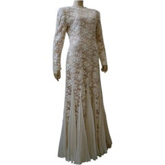 Travilla Wedding Gown of Bead Encrusted Lace and Chiffon Godets