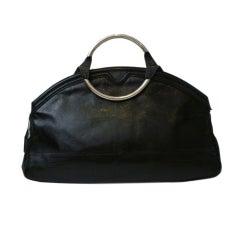 70s Jourdan Leather Satchel Bag w/ Chrome Handles