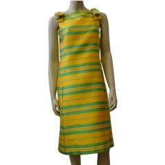 Joseph Magnin Citrus Striped 60s Summer Silk Shift
