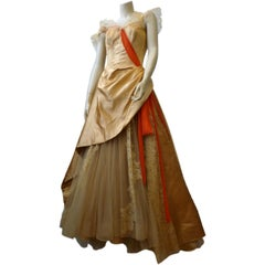 Katherine Kuhn 40s Magnificent Silk Satin Lace &Tulle Ball Gown