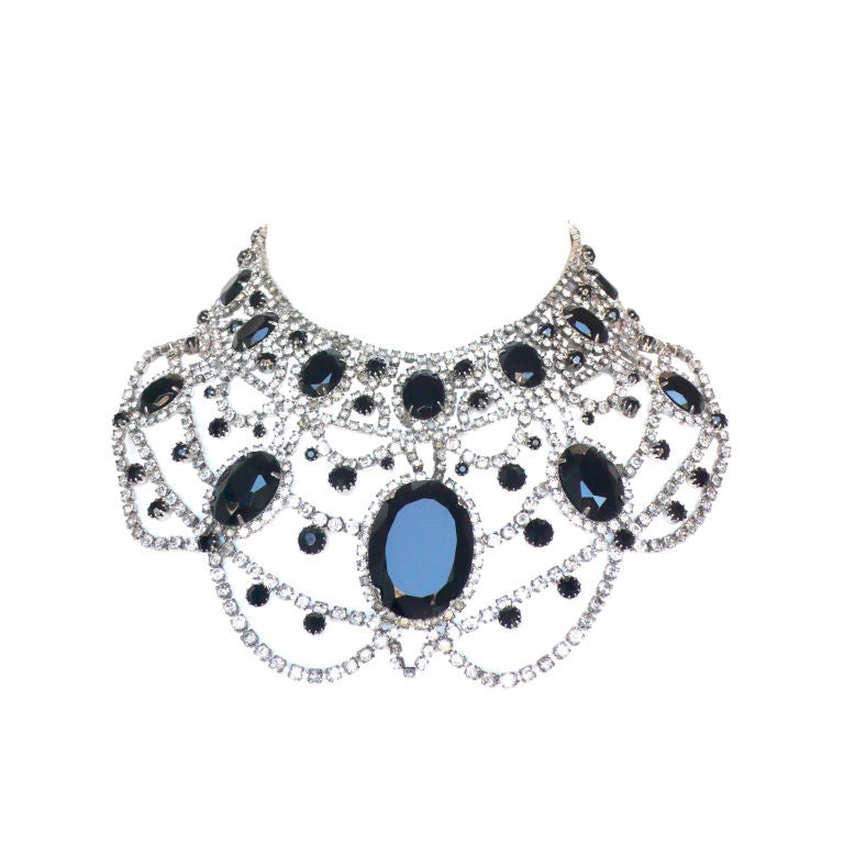 Extravagant Black and Clear Crystal Bib Necklace