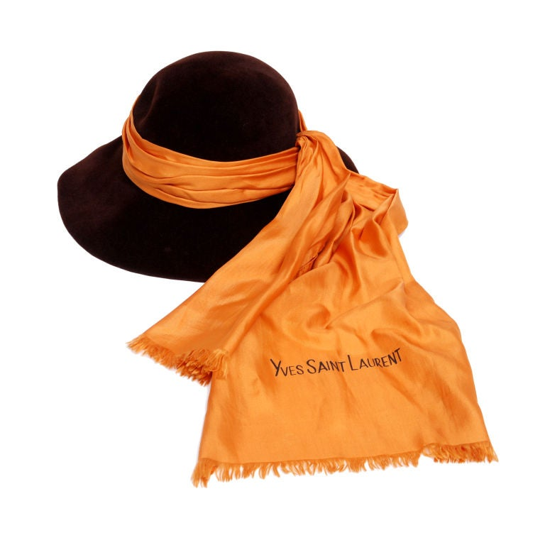 YSL Brown Beaver Felt Hat with Silk Scarf