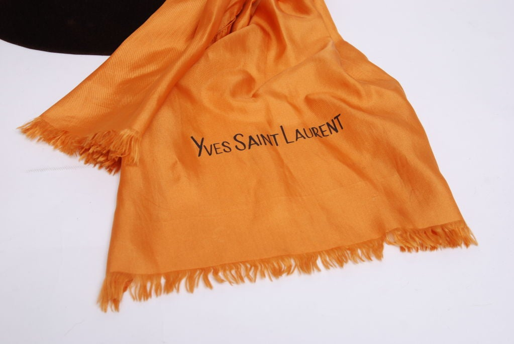 YSL Brown Beaver Felt Hat with Silk Scarf image 2