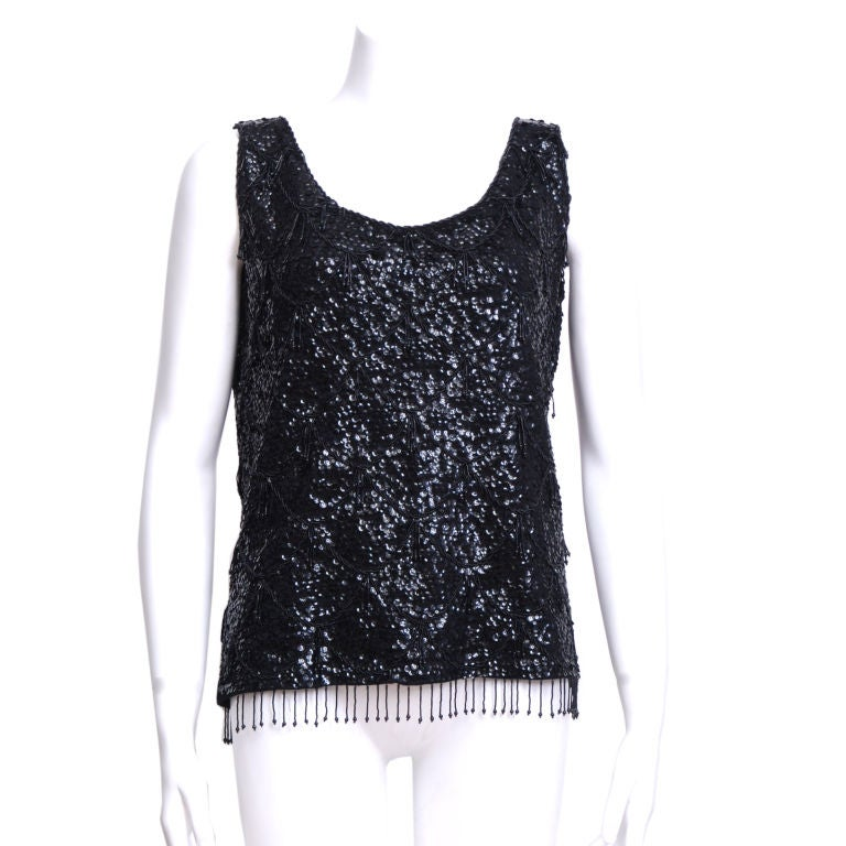 Black sequin and beaded tank 1