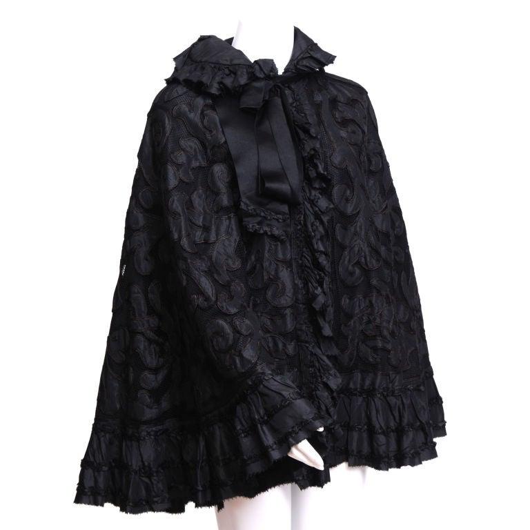Victorian Silk Net and Hair Applique Cape