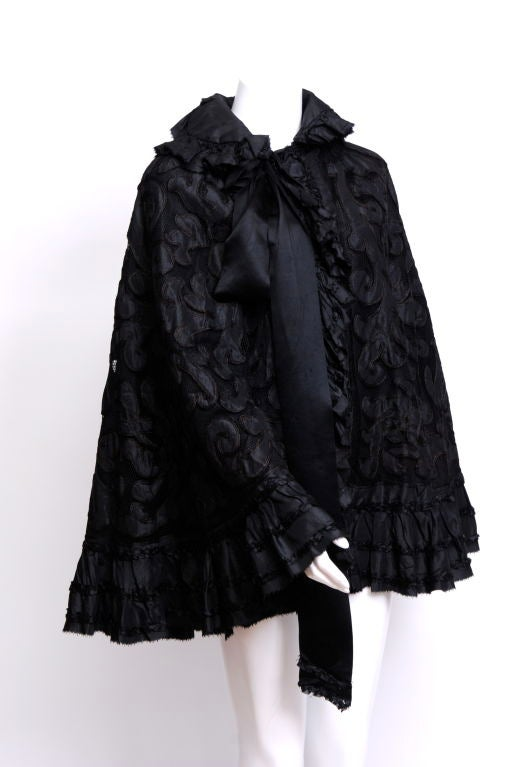 Victorian Silk Net and Hair Applique Cape image 2